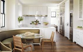 awesome wood dining chairs and round table with banquette bench also white kitchen cabinets