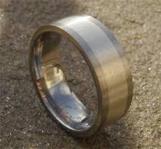 mens titanium wedding ring. mens gold inlaid titanium wedding ring