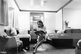 Miss Hilary WATKINS is reading a magazine in one of the cabins of the...  News Photo - Getty Images