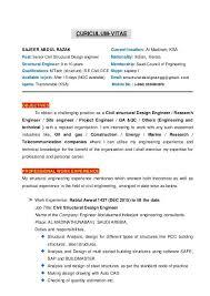 Structural Engineer Resume Sample Cv Of Civil Structural