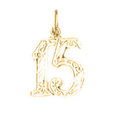 sterling silver number fifteen 15 pendant rhodium yellow or rose gold