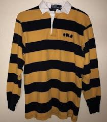 vtg polo ralph lauren rugby polo striped shirt yellow black spellout medium mens