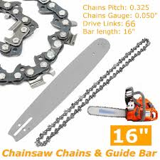 <b>2Pcs</b>/set <b>16 inch Chainsaw</b> Chains +Guide Bar Semi Chisel Chain ...
