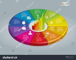 Informational Text With Graphs And Charts Graph Chart Icon On Colorful Circle Business Stock Vector