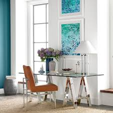 view in gallery glass top trestle desk from williams sonoma home
