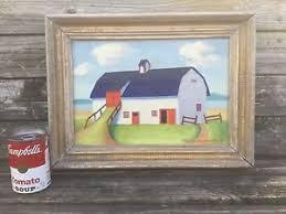 Priscilla Montgomery folk art primitive oil painting 1946 of a barn Maine  artist | eBay