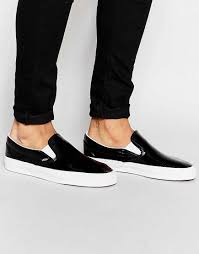 perfect vans slip on patent plimsolls black men 00226 high quality