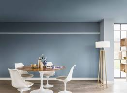 contemporary living and dining room painted in denim drift borrowed blue earl blue and
