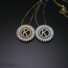 whole letter k pendant necklace with aaa cubic zirconia fashion jewelry for women diamond heart pendant necklace snowflake pendant necklace from