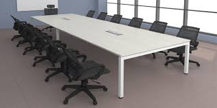 white conference tables with metal legs