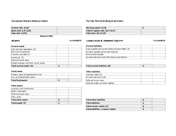 Microsoft Excel Balance Sheet Templates Balance Sheet With Financial Ratios