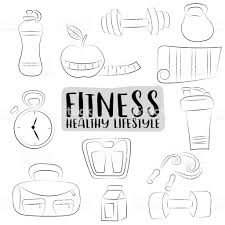 Fitness En Gezonde Levensstijl Pictogrammen Instellen Zwartwit