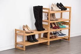 image of better homes gardens 2 tier stackable bamboo wooden shoe rack