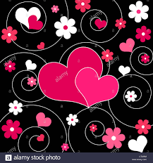 Pictures Of Hearts And Flowers Pair Of Pink Hearts And Flowers Design Stock Photo 49218112