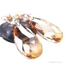 bihrtc pack of 12 amber glass crystal teardrop chandelier prisms pendants parts beads hanging drops pendants
