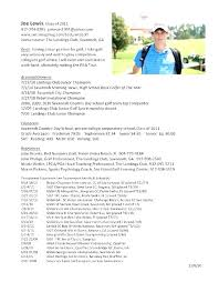 College Golf Resume Template Interesting College Golf Resume Datainfo