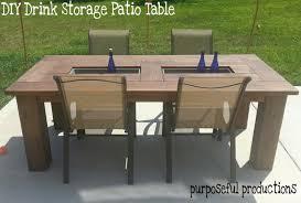purposeful ions diy wood patio table drink storage