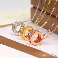 whole necklace with full cz diamond rose gold silver color necklace for women vine collar costume jewelry with original box set mens pendants for