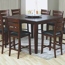 Simple Dining Room Design with Dark Wooden High Top Kitchen Table Set,  Rectangular Grey Shag