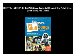 Billboard Charts 2006 Download Epub Joel Whitburn Presents Billboard Top Adult