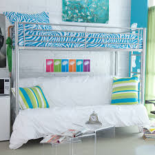loft bed designs for teenage girls. Wonderful For Modern Silver Cast Iron Loft Bed Decor With Blue And White Zebra Print  Sheet Designs For Teenage Girls