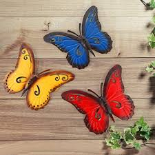 Hanging butterflies and wall décor. Amazon Com Mdluu 3d Metal Wall Art Butterfly Wall Sculpture Indoor Outdoor Hanging Decor For Home Restaurant Garden Yard Pack Of 3 Home Kitchen