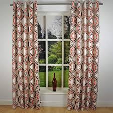 retro modern geometric print readymade lined eyelet curtains e red cream x