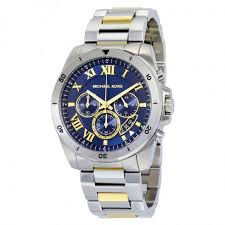 michael kors brecken chronograph blue dial two tone men s watch michael kors brecken chronograph blue dial two tone men s watch mk8437