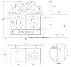 wooden perpetual calendar plan assembly 2d drawing