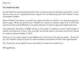 Donor Thank You Letter Sample Thank You Letter To Donors 6 Samples To Write Thank You Letters