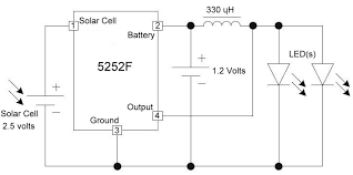 running 3 volt devices from 1 2 volt batteries electronics for above is the schematic for the solar garden light using the 5252f integrated circuit and a 330 microhenry inductor