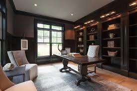 home office black desk. Black Paneled Office With Trestle Desk Home Office Black Desk