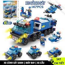 Bộ đồ chơi Lego xây dựng thành phố, Lego cảnh sát, Lego trực thăng, Lego xe  cứu hỏa, Lego xe cẩu chính hãng 74,000đ