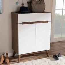 baxton studio calypso midcentury modern white and walnut wood