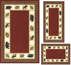 3pc area rug set modern lodge cabin moose baby bear 3 piece area rug set red