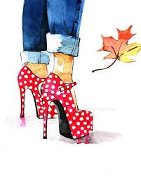 fashion art print shoes fashion ilration red polka dots shoe art wall art