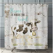 Funny Cow <b>Flower</b> Graffiti <b>Shower Curtain</b> Set <b>Bathroom</b> Wood ...