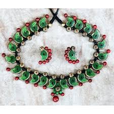 leaf design terracotta jewellery authindia