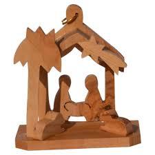 Holz Anhänger Minikrippe Olivenholz Christbaumschmuck Bethlehem 6cm