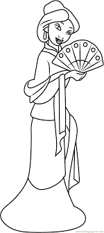 Small Picture Mulan with Hand Fan Coloring Page Free Mulan Coloring Pages