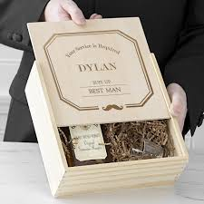 man sliding lie open on personalized wood best man gift box