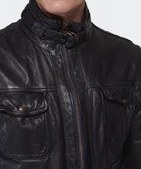 lyst boss orange joetze leather biker jacket in black for men