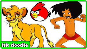 how to draw red angry bird minions mowgli simba and more cartoons sd drawing for kids you