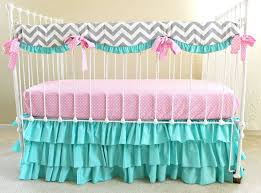 pink and turquoise baby bedding design