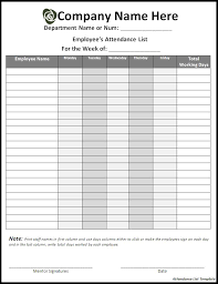 attandance list attendance list template sample templates