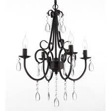 harrison lane empress iron and crystal 4 light rustic plug in hardwire chandelier