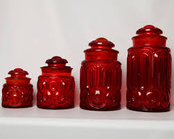 charming red canister sets kitchen red glass canisters clear canister sets with lid round