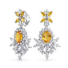bling jewelry vintage style yellow citrine color cz clip on chandelier earrings