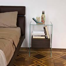glass bedside table. Contemporary Bedside Table / Birch Tempered Glass Rectangular