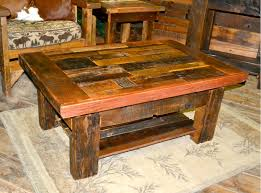 collage barnwood coffee table